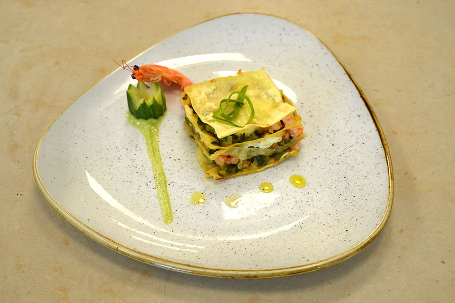 Corso cuoco professionista lasagne zucchine gambero for Ricette gambero rosso